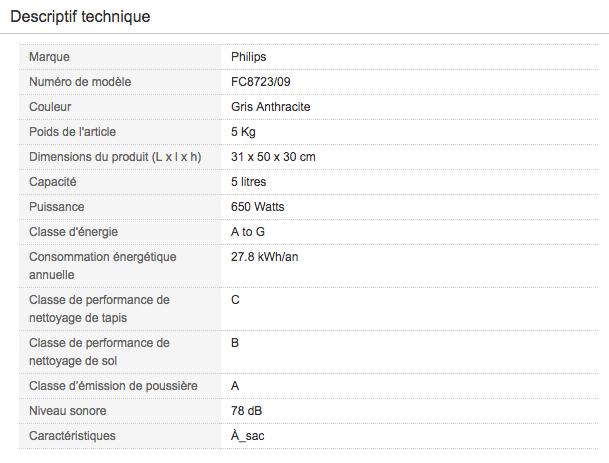 Descriptif technique de Aspirateur traineau avec sac Philips FC8723/09