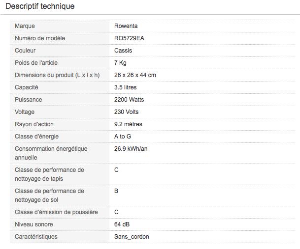 Descriptif technique de Aspirateur traineau avec sac Rowenta RO5729EA Silence Force Extreme