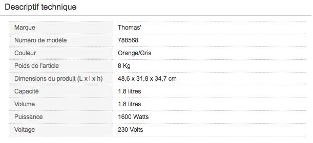 Descriptif technique de Aspirateur traineau poils animaux Thomas 788568 Aqua+ Pet & Familly