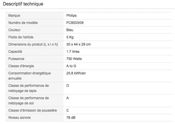Descriptif technique de cet Aspirateur traineau pour poils animaux Philips FC9533/09 Power Pro Active