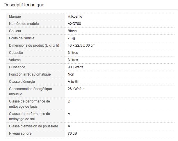 Descriptif technique de l'aspirateur traineau pas cher H.Koenig AXO700
