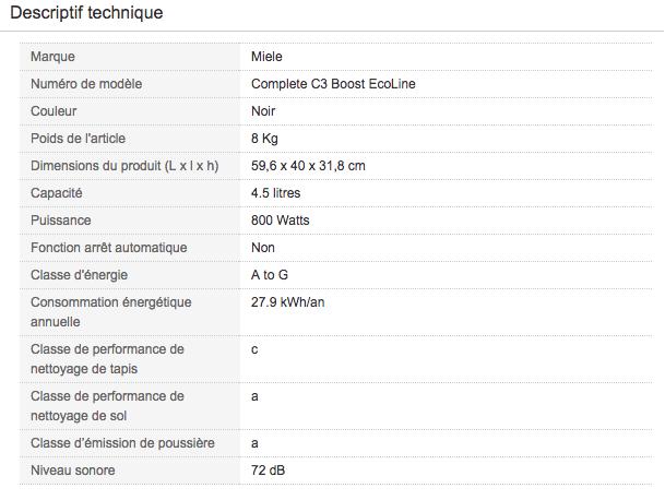 Descriptif technique de Aspirateur traineau avec sac Miele Complete C3 Boost EcoLine