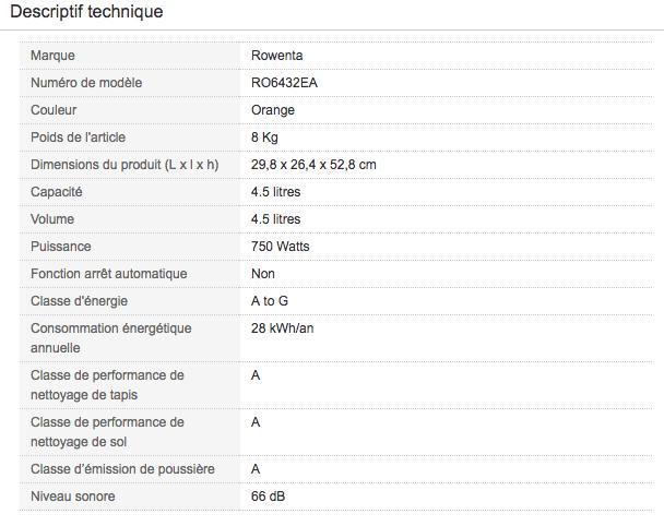 Descriptif technique de Aspirateur traineau avec sac Rowenta RO6432EA