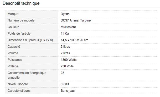 Descriptif technique de Aspirateur traineau poils animaux Dyson DC37 Animal Turbine