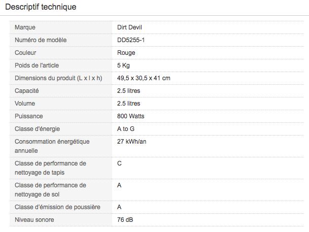 Descriptif technique de Aspirateur traineau sans sac Dirt Devil DD5255-1 Infinity Rebel 55 HFC
